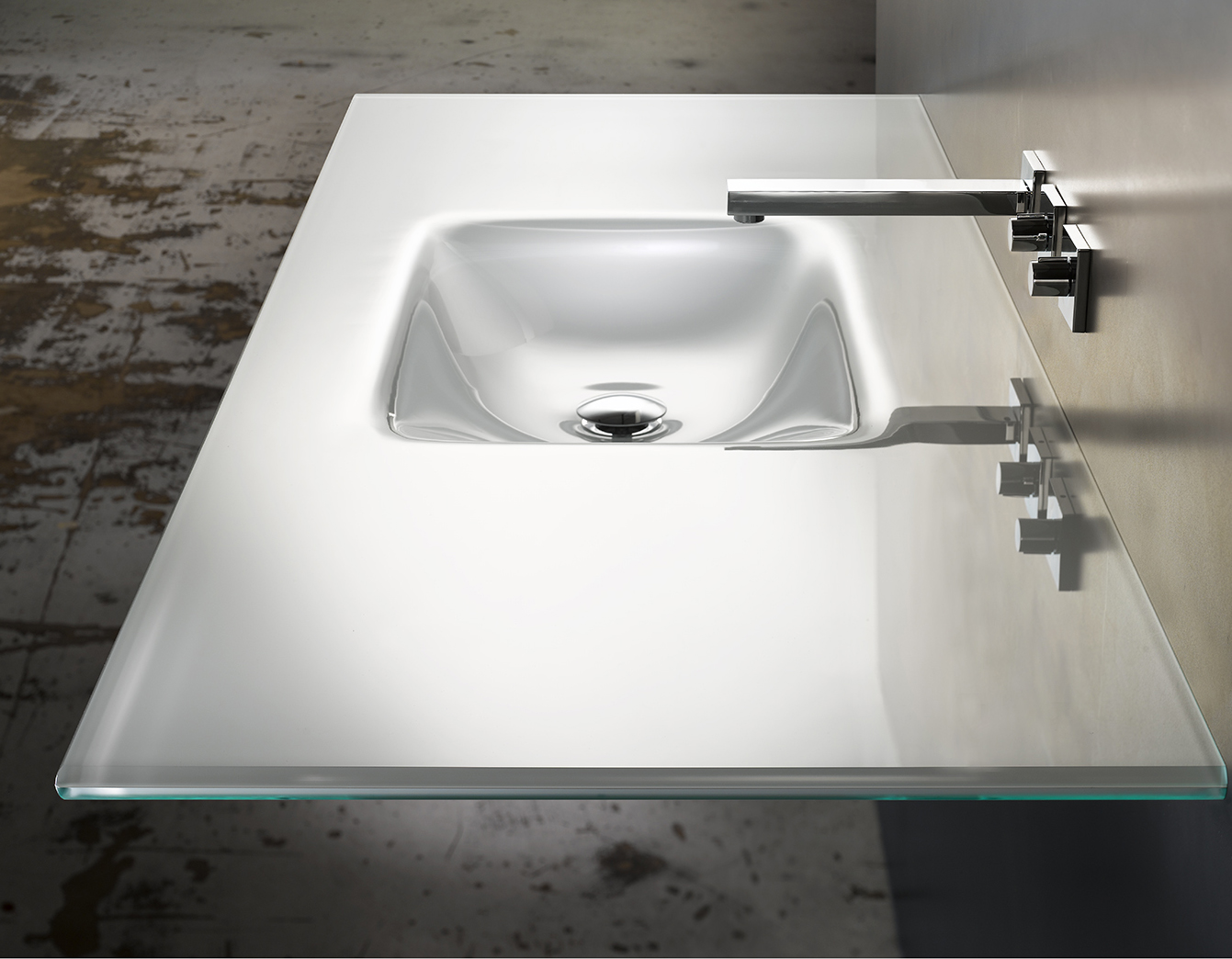 Starphire White Lami Rectangular Counter Glass Sink