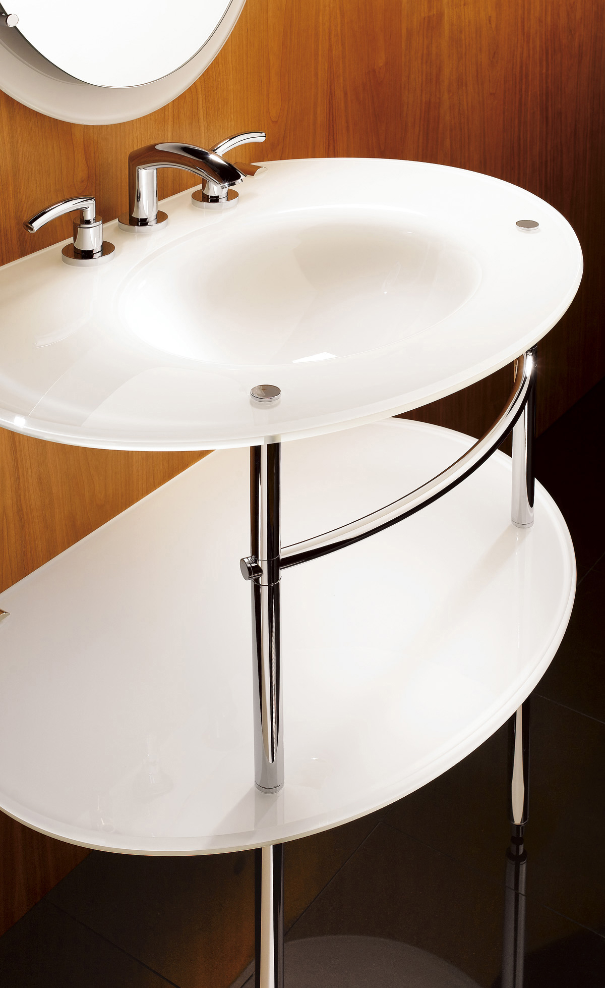 White Console Bathroom Sink Design